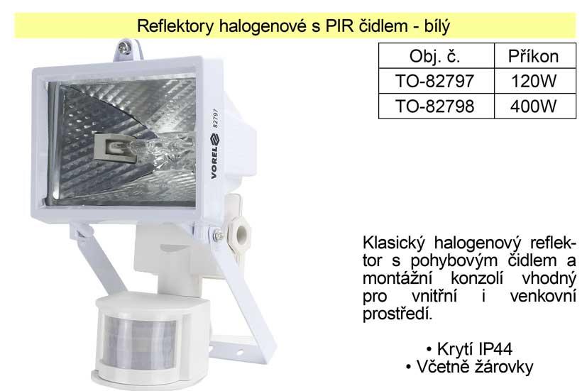 Reflektor halogenový s Pir čidlem 120W bílý
