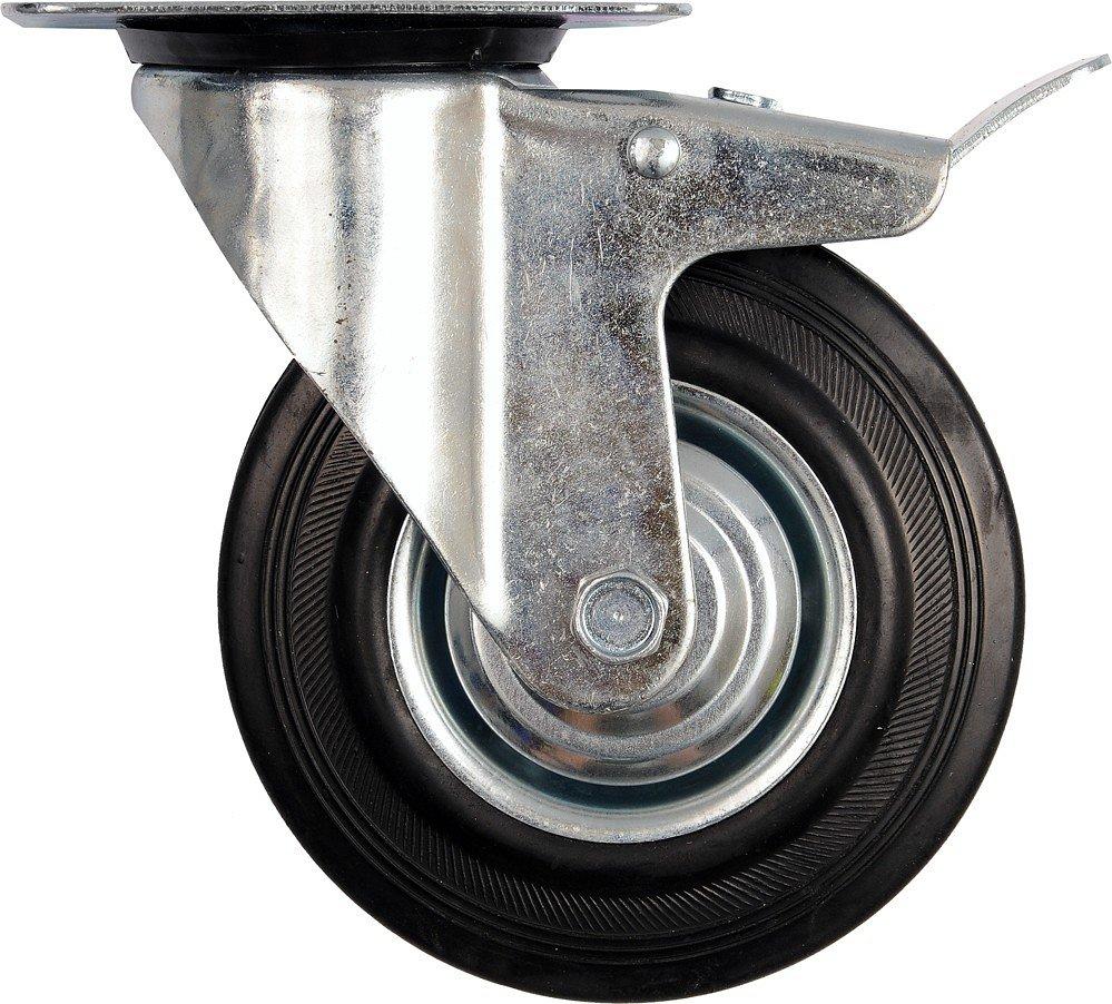Kolečko otočné s brzdou, gumové 150kg 200/46/235mm