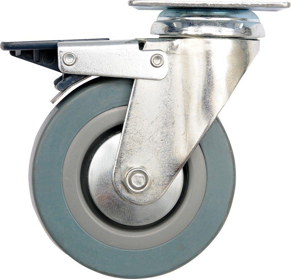 Kolečko otočné, gumové s brzdou 30kg 75/21/104mm