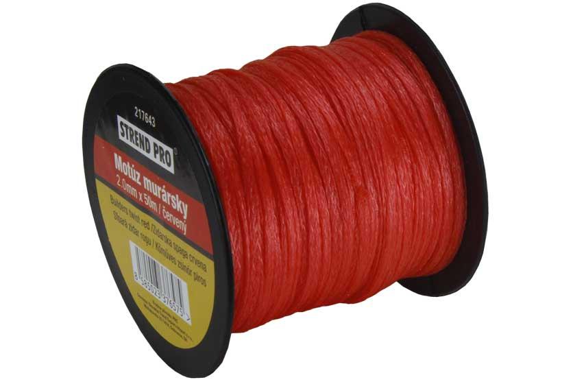 Šňůra zednická červená, délka 50m,  průměr 2mm
