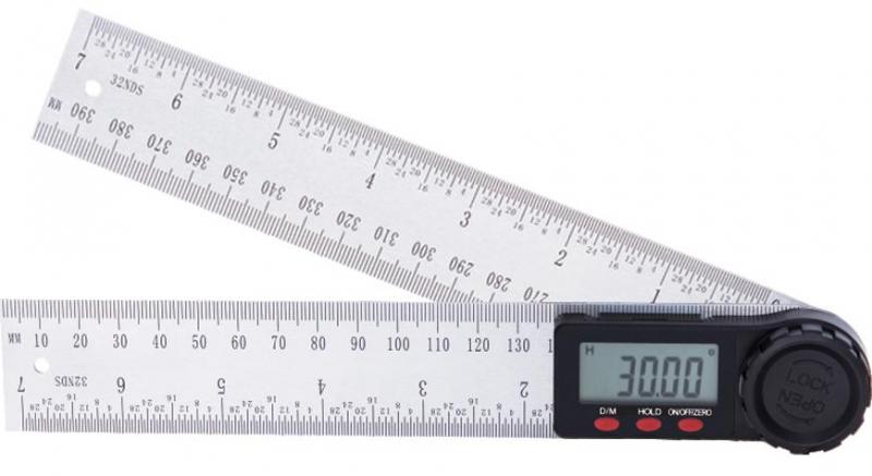 STREND PRO digitální úhloměr, pravíto 200mm