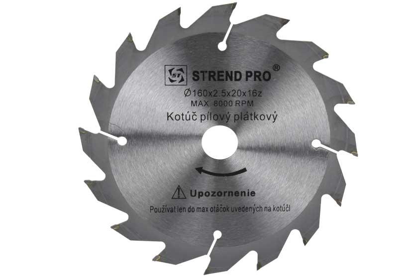 Pilový kotouč s SK plátky 160x20x2,5mm 16 zubů Strend Pro