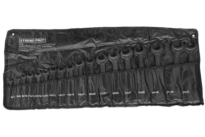 Klíče otevřené oboustranné černé sada 6-32mm 18 kusů Strend Pro 231745