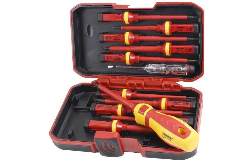 Šroubováky elektrikářské, VDE, sada 12 dílů, v kufříku, Strend Pro 239562