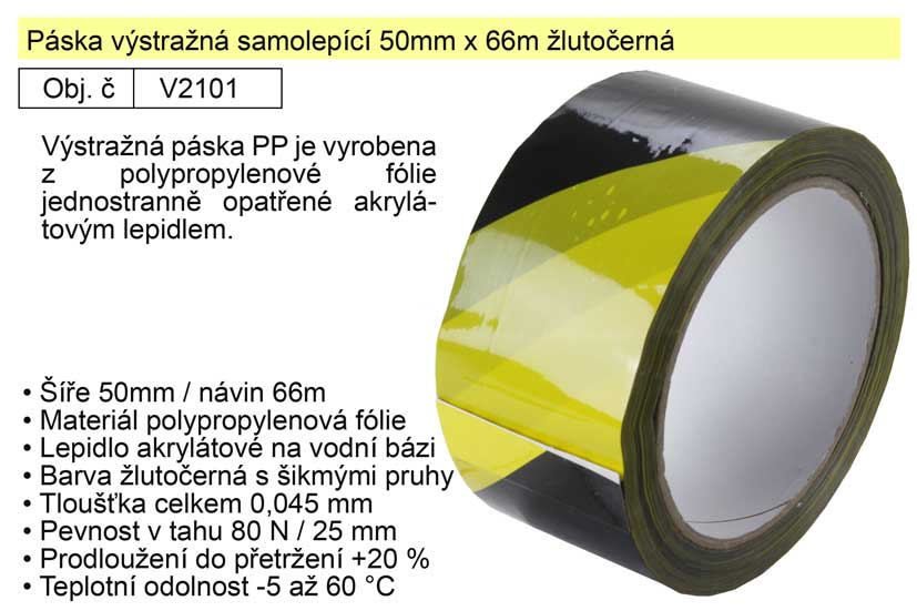 Páska výstražná samolepící 50mm x 66m žlutočerná