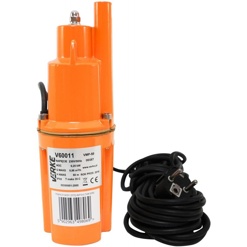VERKE Čerpadlo na vodu, vibrační membránové hlubinné 250W, max výtlak 60m V60011