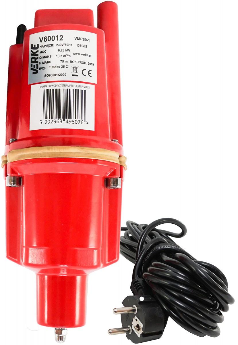 VERKE Čerpadlo na vodu, vibrační membránové hlubinné 280W, dolní sání, výtlak 75m V60012