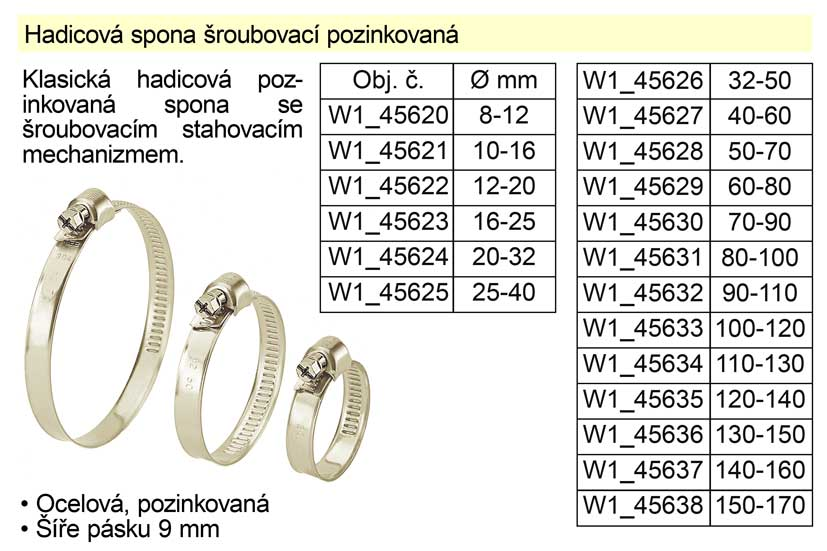 Hadicová spona šroubovací pozinkovaná  50-70 mm Nářadí 0.02Kg W1_45628