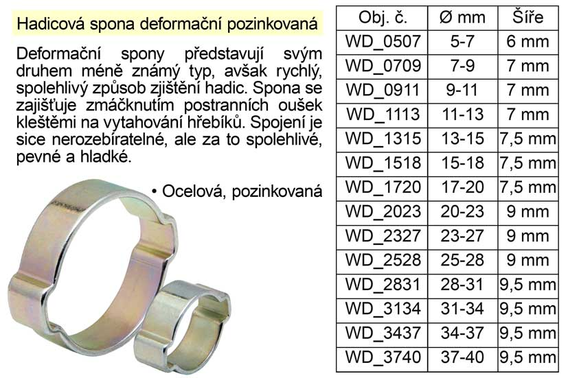 Hadicová spona deformační pozinkovaná  5-7 mm Nářadí 0.02Kg WD_0507