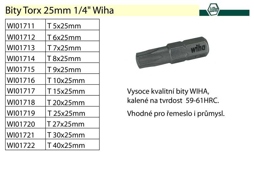 """Bit Torx T20x25mm 1/4"""" Wiha Standard"""