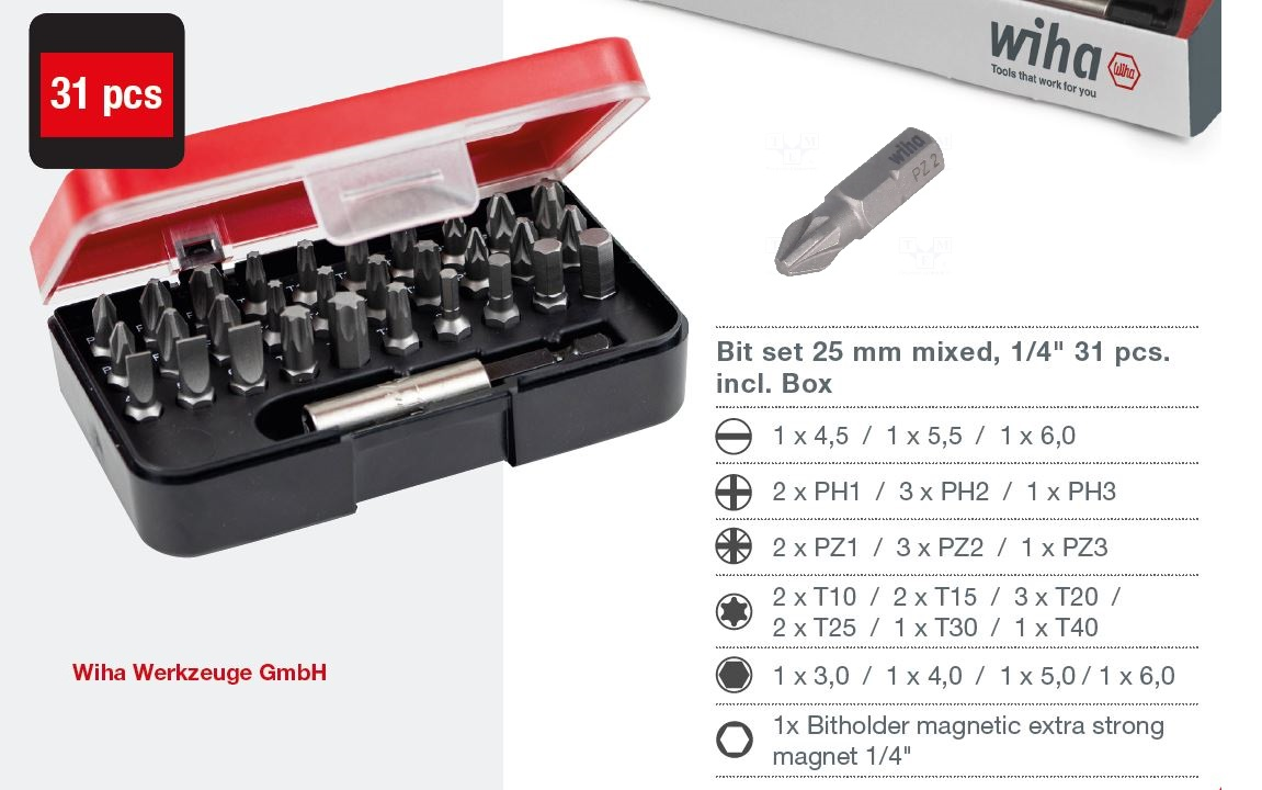 WIHA Profi sada bitů s magnetickým držákem bitů, 31dílů