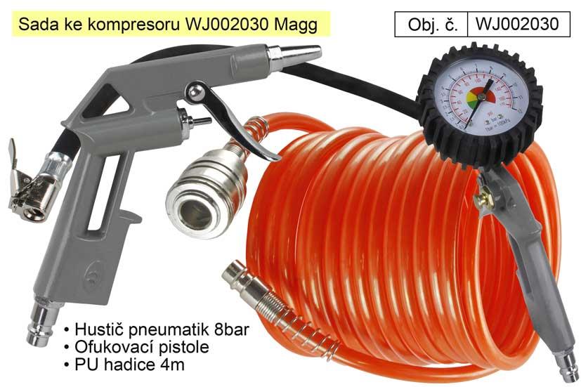 Sada ke kompresoru Magg WJ002030 splničem pneumatik a dalším příslušenstvím