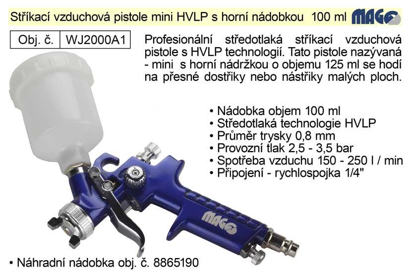 Pistole stříkací vzduchová mini HVLP Magg Profi horní nádobka 100ml