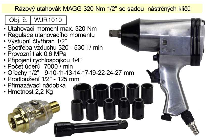 """Rázový utahovák MAGG 320 Nm 1/2"""" se sadou  nástrčných klíčů  WJR1010"""