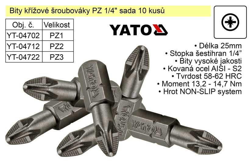 """Bit křížový šroubovák PZ3x25mm 1/4"""" sada 10 kusů YT-04722"""