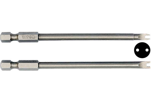 """Bezpečnostní bity, Spanner, ploché, s výřezem, šíře 4 a 8 mm, 1/4"""" , délky 100 mm, Yato"""