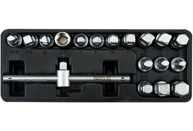 Klíče na zátky olejových van sada 18 dílů Yato YT-0599