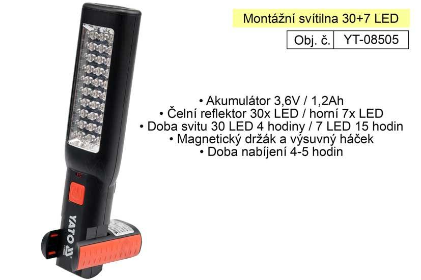 Montážní svítilna 30+7 LED YT-0805 Yato nabíjecí