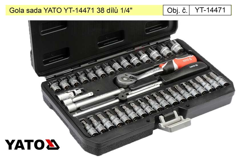 "Gola sada YATO YT-14471 38 dílů 1/4"" Nářadí 1.45Kg YT-14471"
