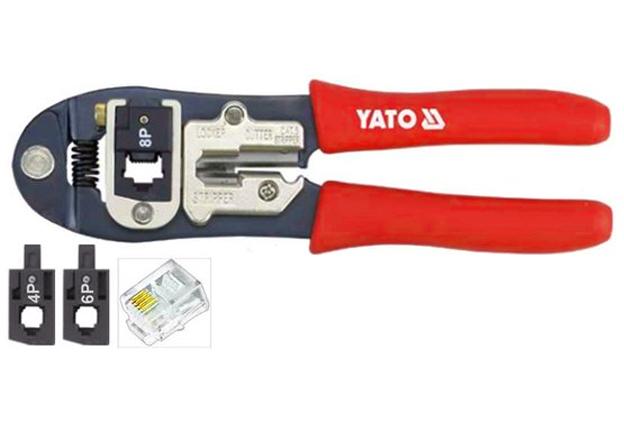 Kleště na lisování konektorů 4 PIN, 6 PIN, 8 PIN, délka 195 mm, Yato