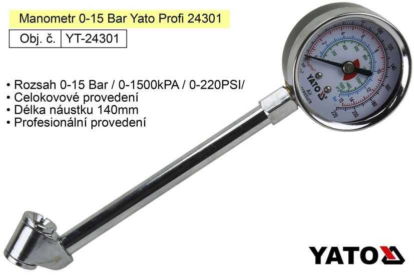 Manometr 0-15 Bar Yato Profi 24301