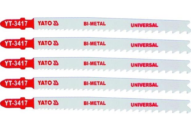 Listy pro přímočarou pilu, úchyt EU (BOSCH) , délka 130mm , univerzální,  Bi-metal, Yato