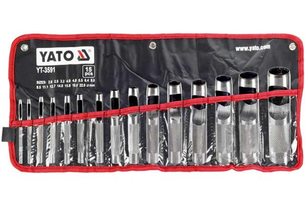 Děrovače (razníky),  sada 15 kusů,  průměry 2,0 – 22,0 mm, Yato