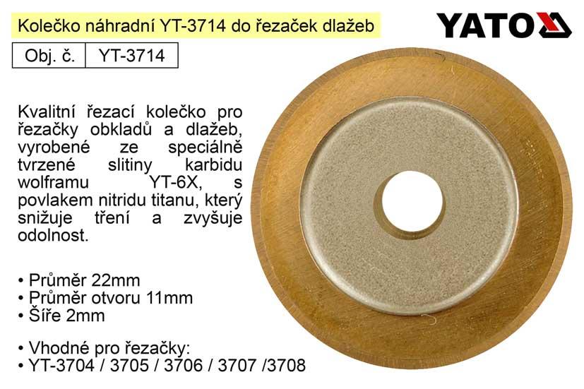Kolečko řezací náhradní YT-3714 pro řezačky dlažeb