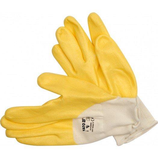 """Pracovní rukavice  polomáčené v nitrilu bavlněné vel.  9"""" YATO"""