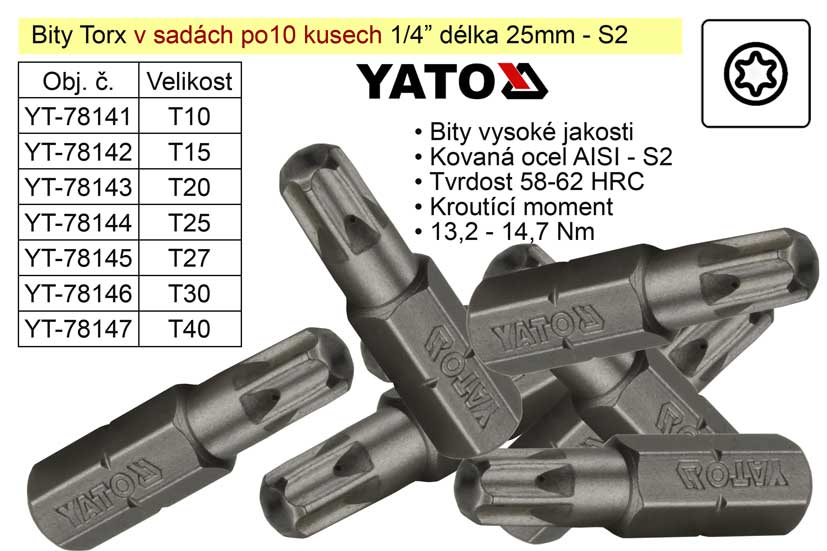 Bit Torx  T30x25mm 1/4' sada 10 kusů YT-78146