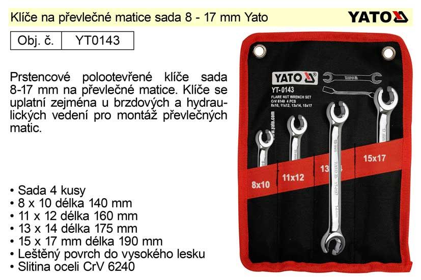 Klíče na převlečné matice sada 8 - 17 mm Yato