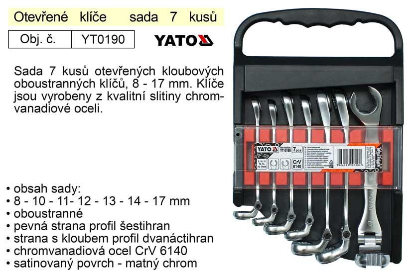 Sada klíčů na převlečné matice s kloubem 7 kusů YT-0190 YATO