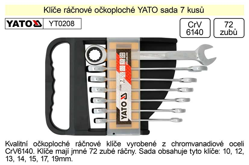 Klíče ráčnové  YATO sada 7 kusů očkoploché 10-19mm Nářadí 1.175Kg YT-0208