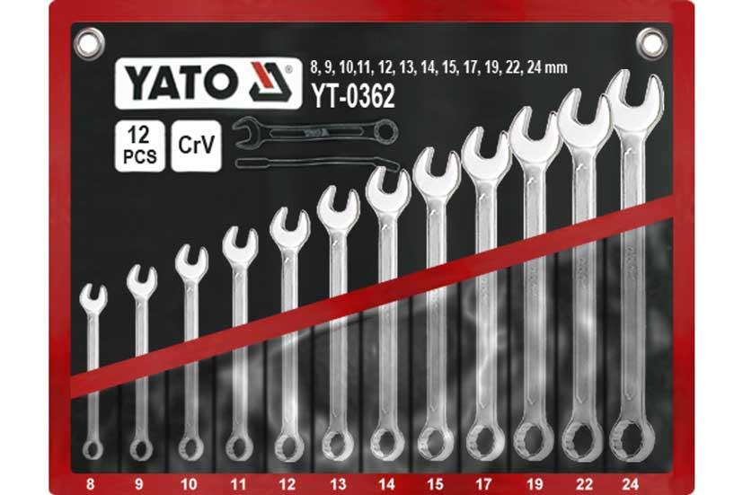 Klíče očkoploché sada 12 kusů 8-24mm CrV Yato Nářadí-Sklad 2 | 1,41 Kg