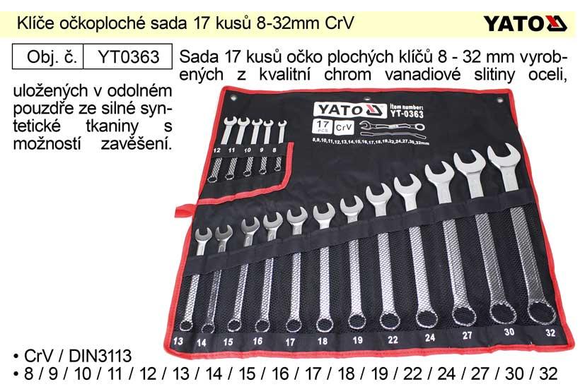 Klíče očkoploché sada 17 kusů 8-32mm CrV Yato Nářadí-Sklad 2 | 3,32 Kg