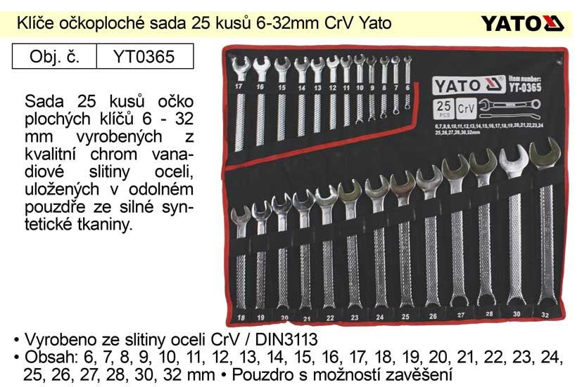 Klíče očkoploché sada 25 kusů 6-32mm CrV Yato Nářadí-Sklad 2 | 5,156 Kg