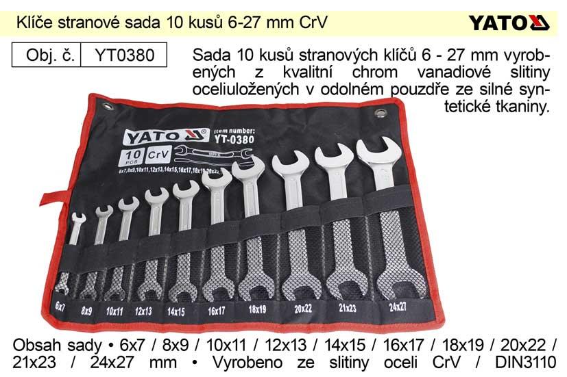 Klíče stranové sada 10 kusů 6-27mm CrV Yato