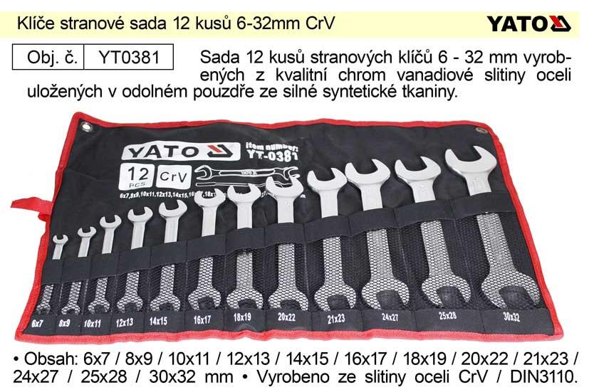 Klíče stranové sada 12 kusů 6-32mm CrV Yato