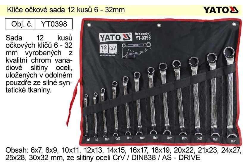 Klíče očkové sada 12 kusů 6-32mm CrV Yato