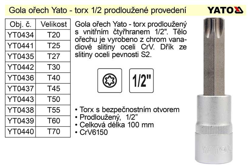 """Gola ořech torx 1/2"""" prodloužený T40 YT-0436"""