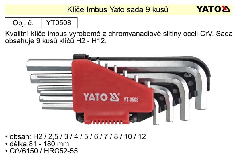 Klíče imbus zahnuté  2 - 12 mm  Yato