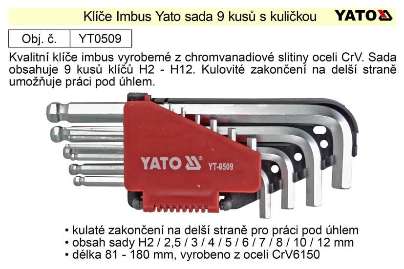 Klíče imbus zahnuté 2 - 12 mm s kuličkou Yato