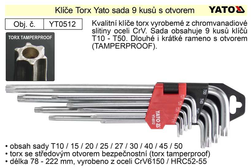 Klíče torx Yato zahnuté sada 9 kusů délka 90-200mm