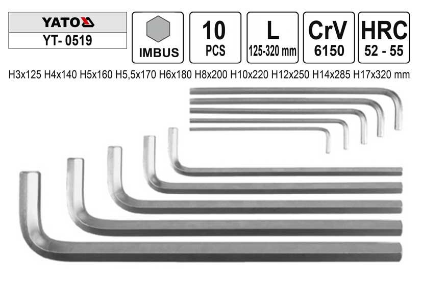 Klíče imbus zahnuté  3 - 17 mm  Yato bez kuličky Nářadí | 2,91 Kg