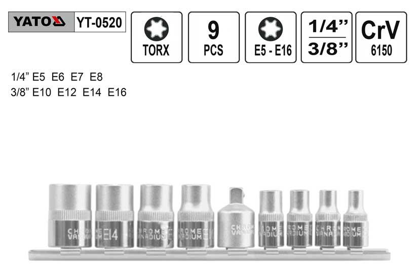 Nástrčné hlavice torx  sada 9 kusů vnitřní E5-E16 Yato