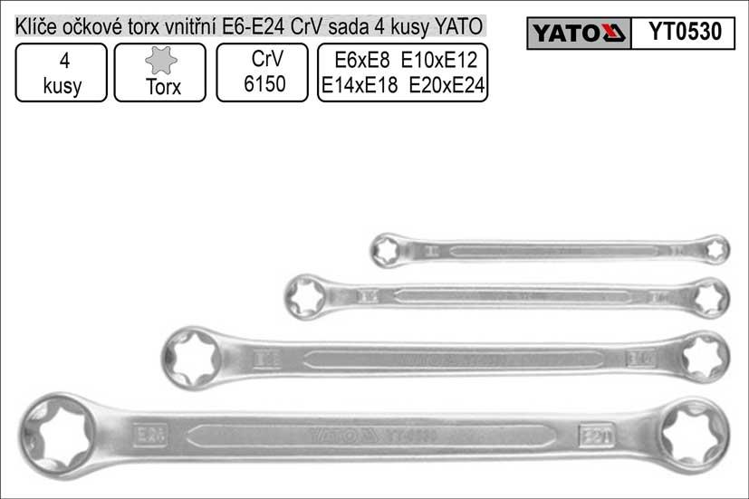 Klíče očkové  torx vnitřní sada  4 kusy E6-E24mm CrV Yato