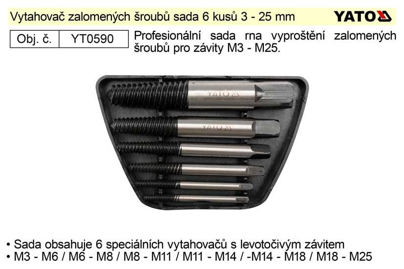 Vytahovač zalomených šroubů sada 6 kusů 3 - 25 mm Yato