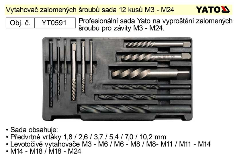 Vytahovač zalomených šroubů sada 12 kusů 3 - 24 mm Yato Nářadí 0.423Kg YT-0591