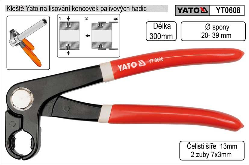 Kleště Yato na lisování koncovek palivových hadic