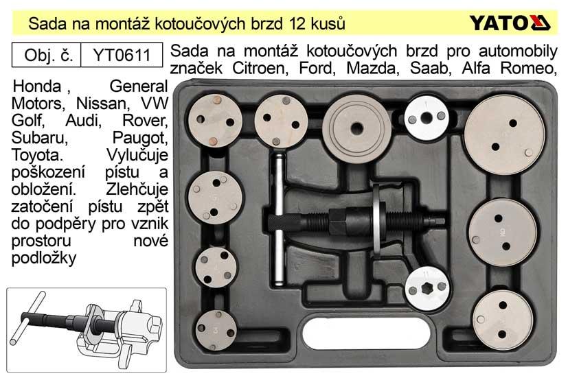 Sada na montáž kotoučových brzd 12 dílů profi Yato